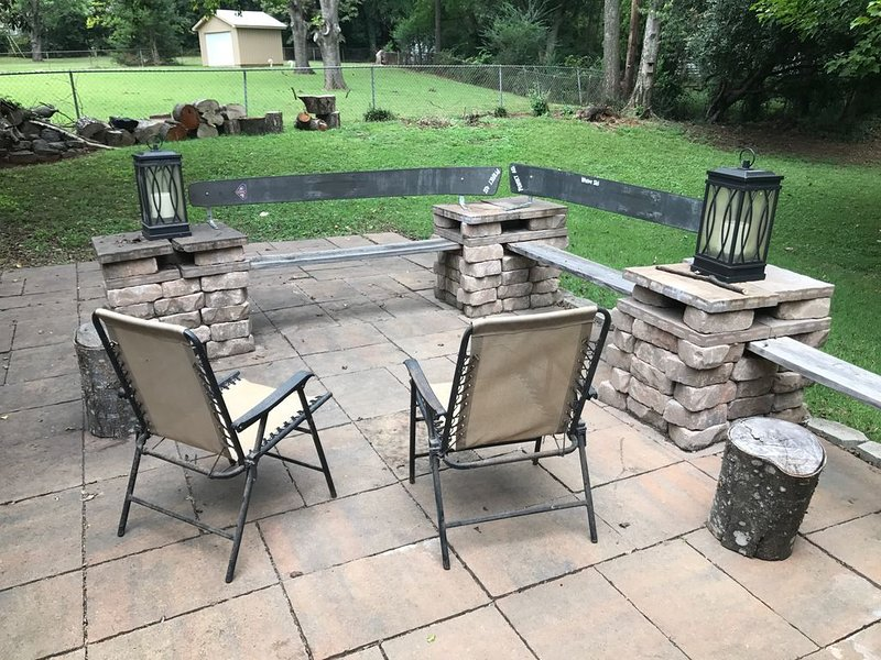 Open patio seating with optional fire pit
