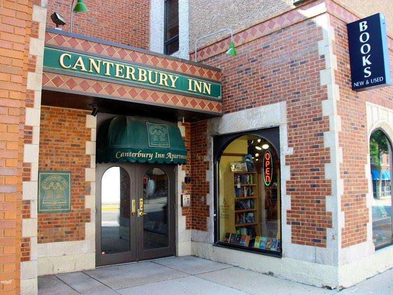 Canterbury Inn location above a bookstore