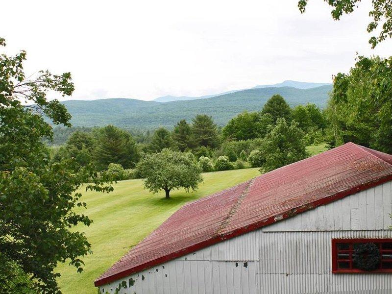 Una vista de las montañas exuberantes desde el porche delantero