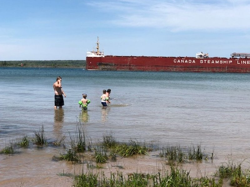 Freighters in front yard!  Private Sandy Beach - Large Deck - Best View on River, holiday rental in Sault Ste. Marie