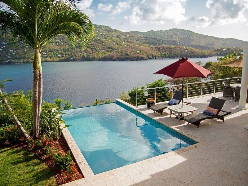 Pool und Terrasse von oben