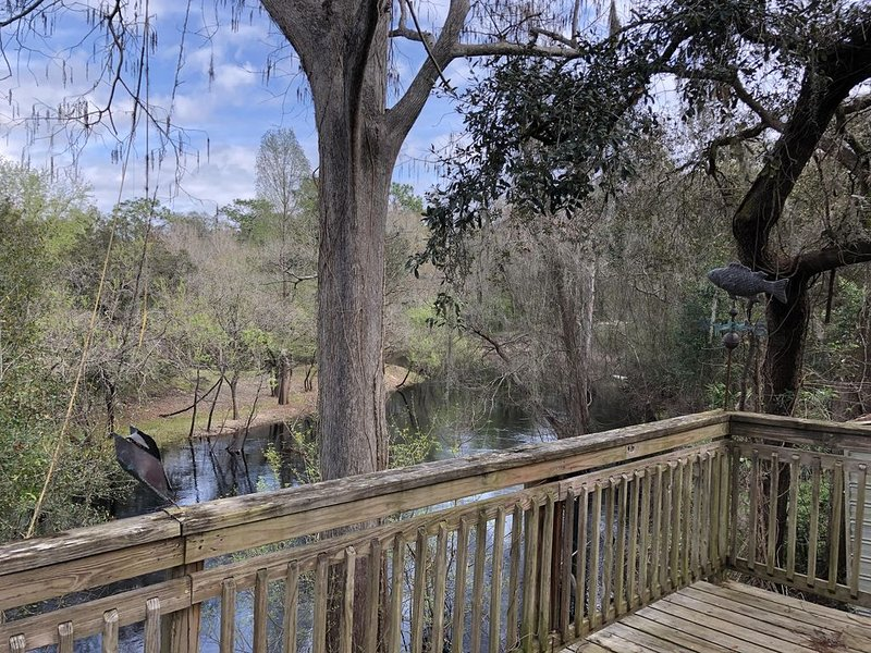 Back deck overlooks the beautiful Withlacoochee River. A perfect weekend getaway, holiday rental in Webster