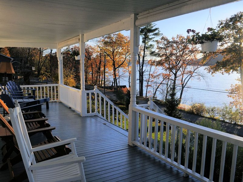 Our covered front porch is spectacular, as is the light off the lake at sunset.