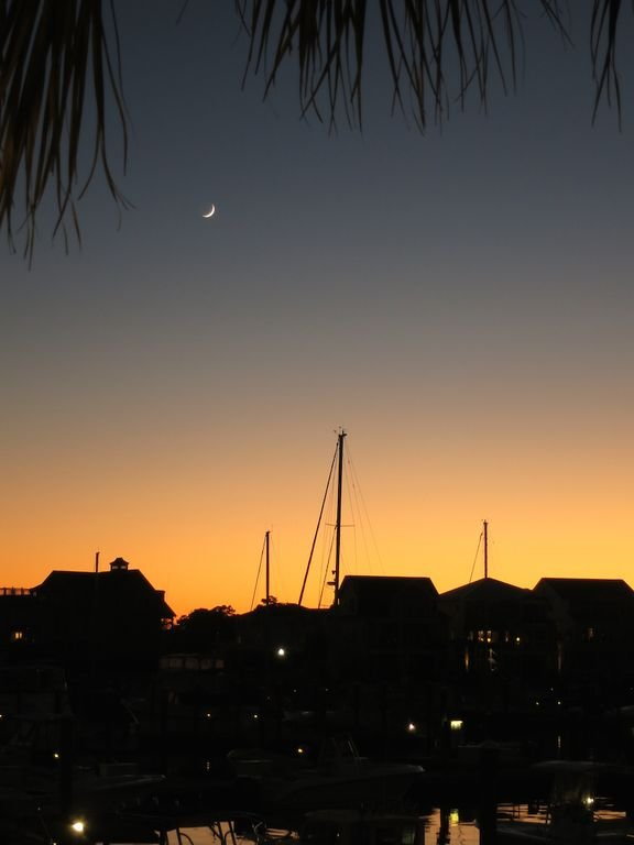 Beautiful Moon at Sunset as seen from the St. James Marina