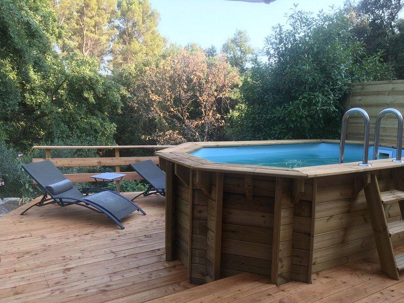 Gîte Cocooning avec Balnéo 2 places, piscine privée et terrasse bois, casa vacanza a Flayosc