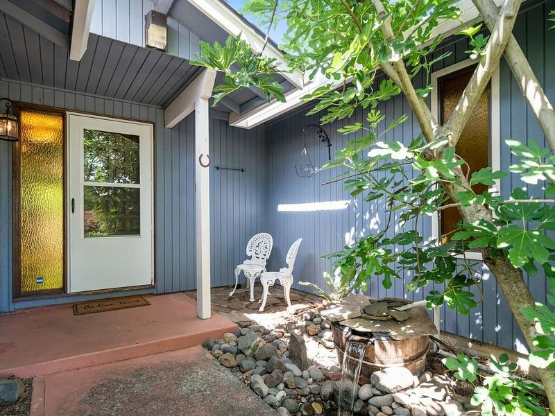 Front entry porch and fig tree.