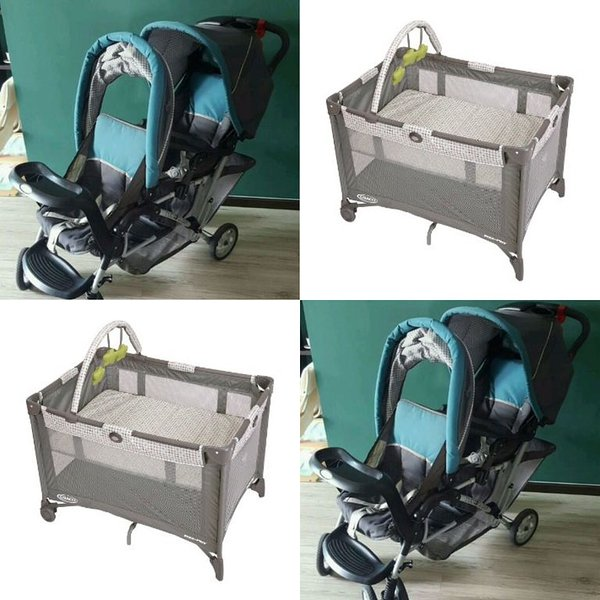 For young kids, there's a Graco pack n play and a duo glider stroller in closet