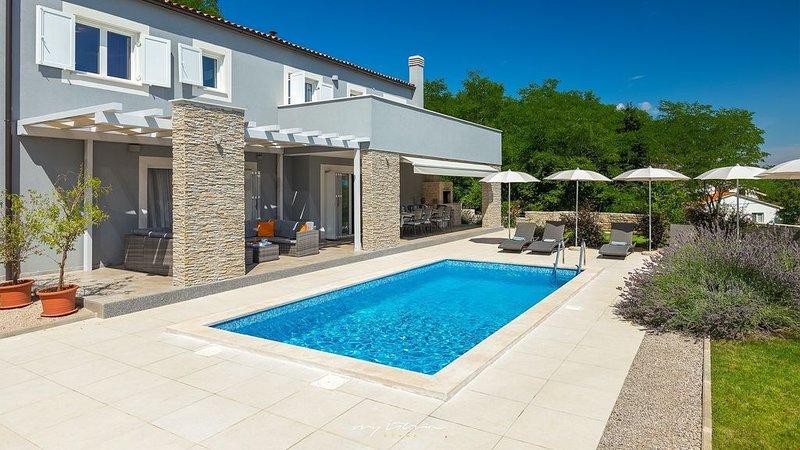 Modern villa with pool surrounded by nature, location de vacances à Jurazini