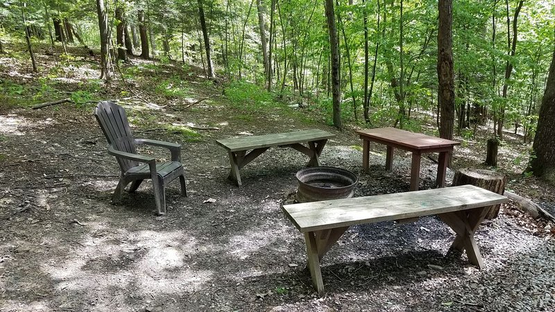 fire pit is tucked in the wooded landscape around the cabin.  has a private path