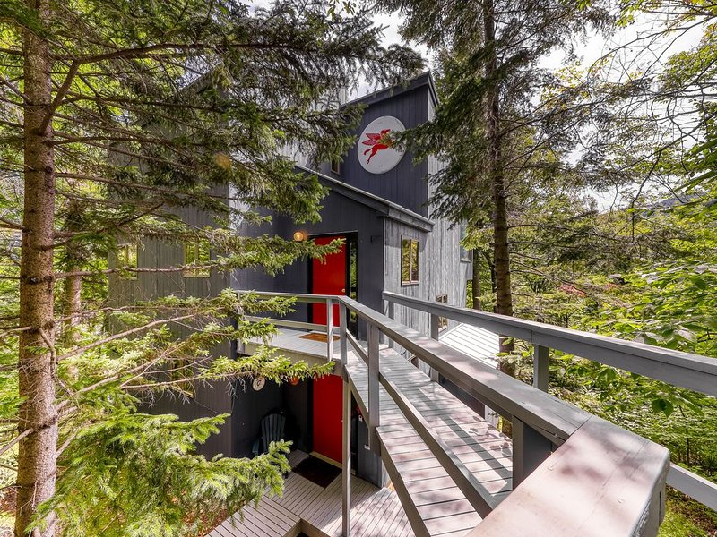 Mountain view home in the treetops w/ forest views, deck & fireplace!, alquiler de vacaciones en Fayston