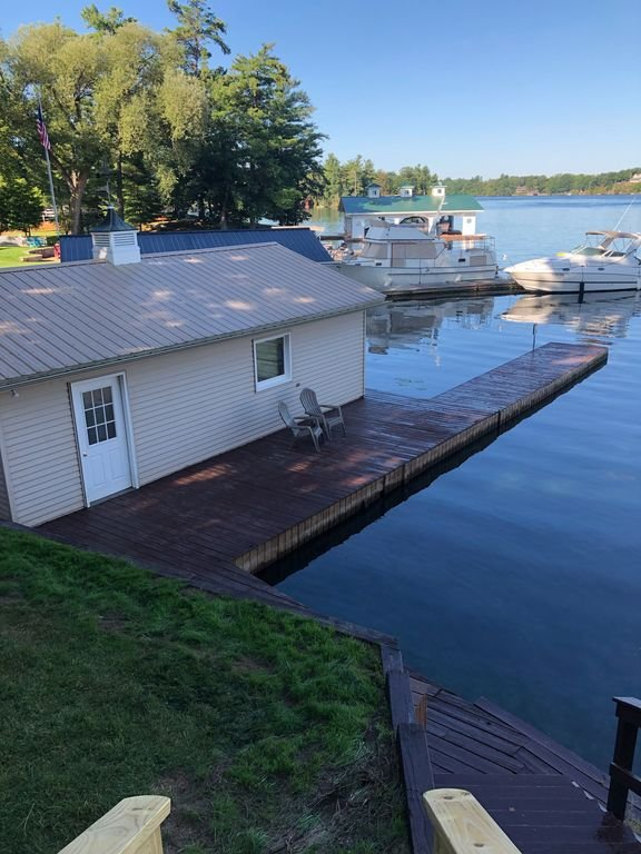 Our dock,  boathouse and view from porch
