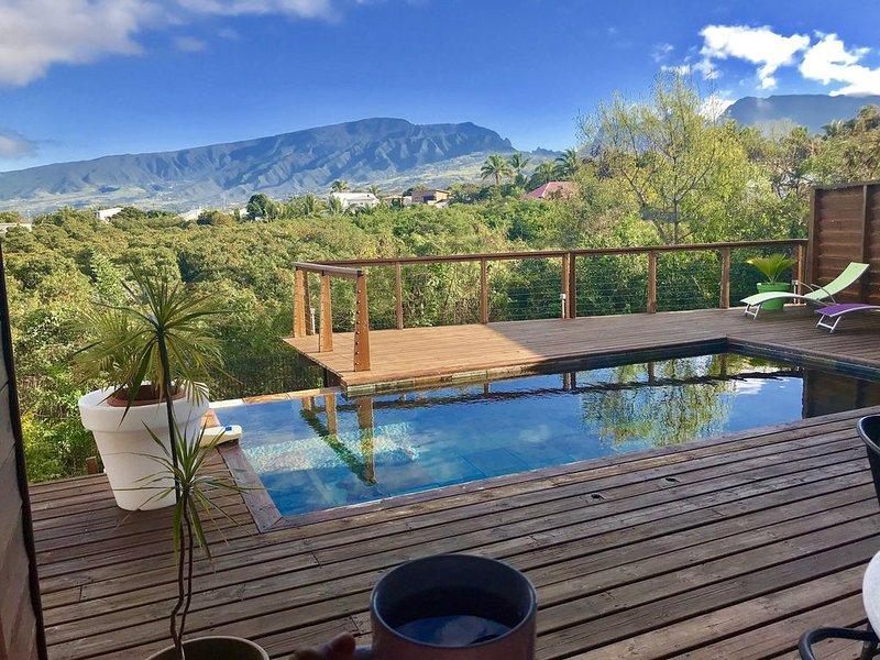 VILLA DE STANDING en bois avec belle vue montagne près de St Pierre, casa vacanza a Bois d'Olives