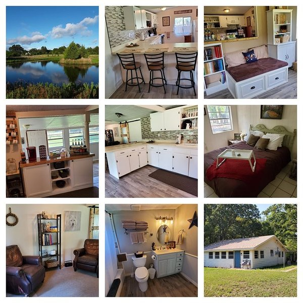 2bd/1ba  CountryCottage. WiFi. Sleeps 6. Dog & Kids! Fishing pond. Fire pit. BBQ – semesterbostad i Point