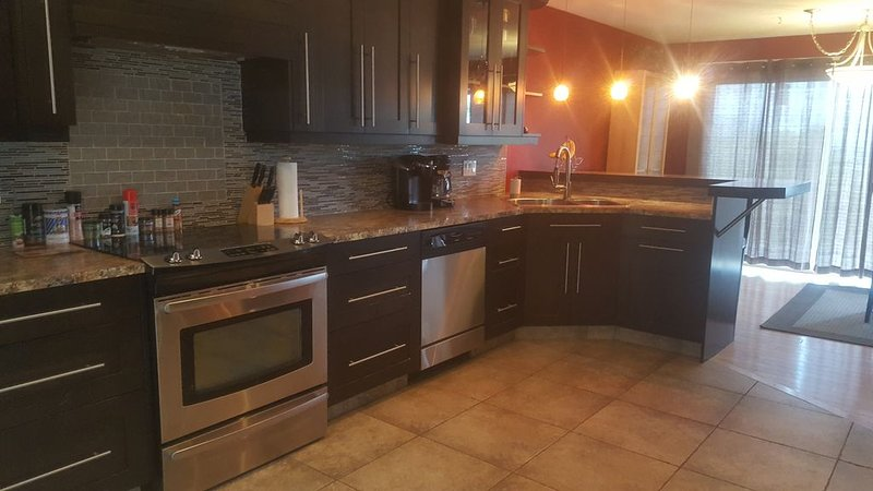 Gourmet kitchen, luxurious bath A/C, gas fireplace, BBQ & private backyard patio, vakantiewoning in Vernon