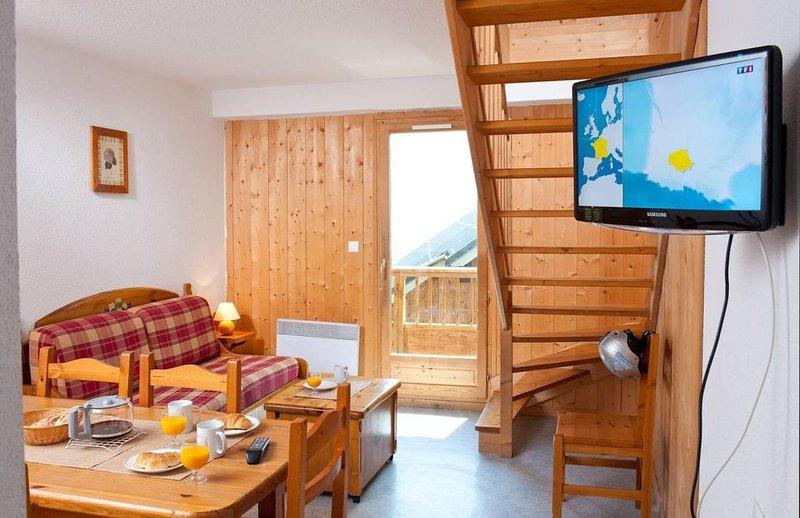 Wifi, à 100m des pistes de ski, remise en forme, piscine, terrasse, balcon, télé, holiday rental in Saint Jean d'Arves