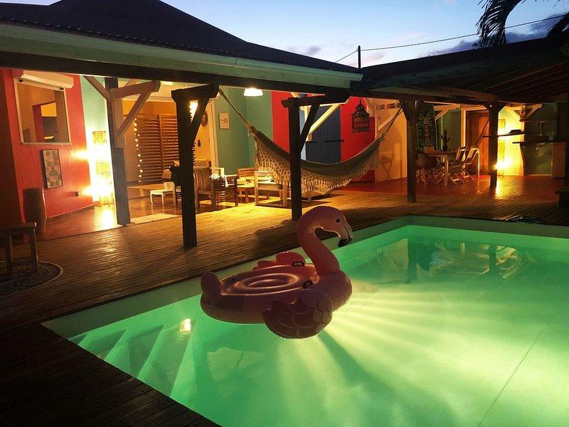 'Casa Bohème'  Villa 4 Chambres Climatisées Avec Piscine et Jacuzzi, location de vacances à Le Moule