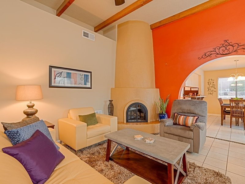 Fire up the Kiva fireplace to warm up the space
