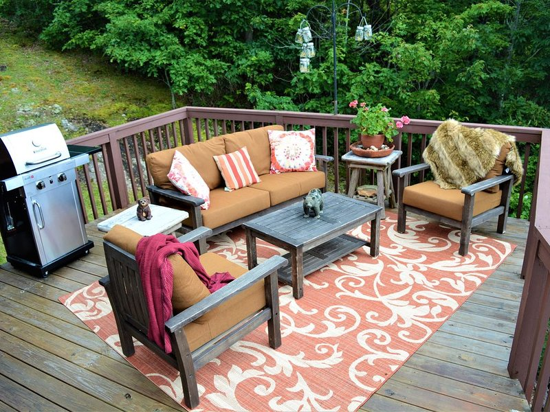 The outdoor living room provides the perfect perch  for the panoramic views.