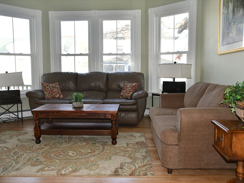 Living Room has a large screen TV and games to enjoy.