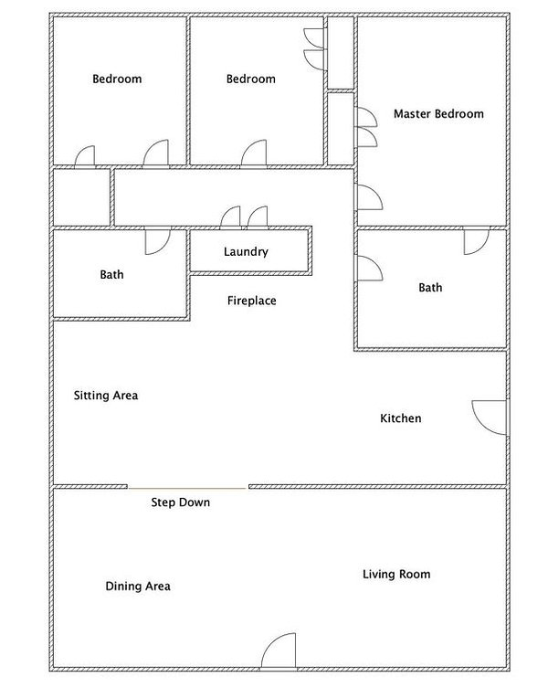 Plano de planta - 1400 pies cuadrados