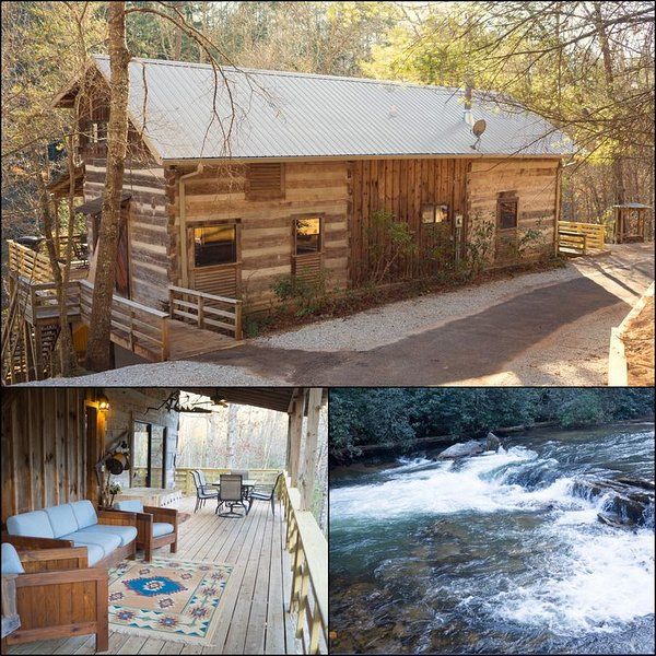 Historic Log Cabin. Wrap around porch. Right on the river with access.