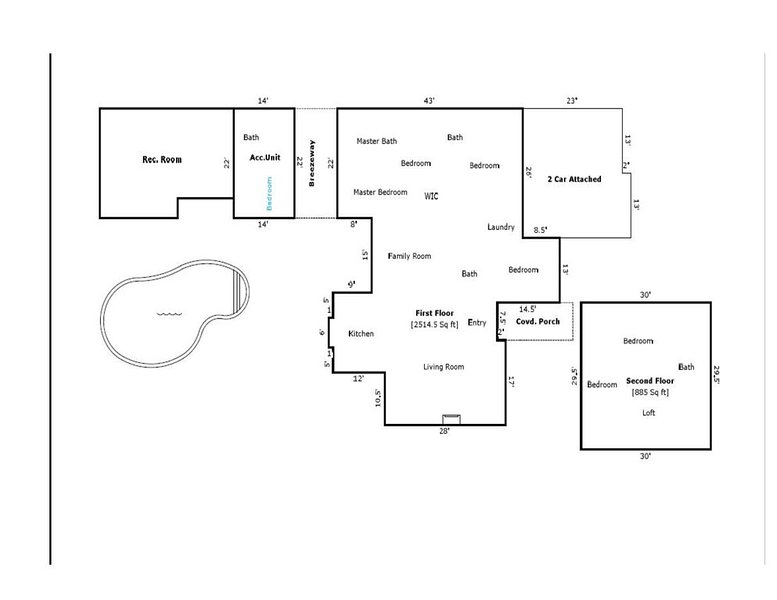 House Lay Out Wonderful for large groups lots of living space lots of fun!!