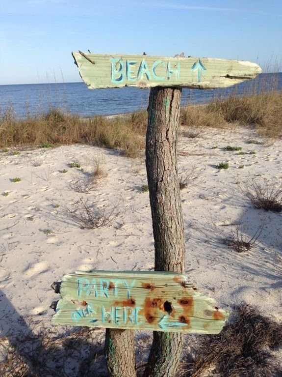 Beach sign on the property