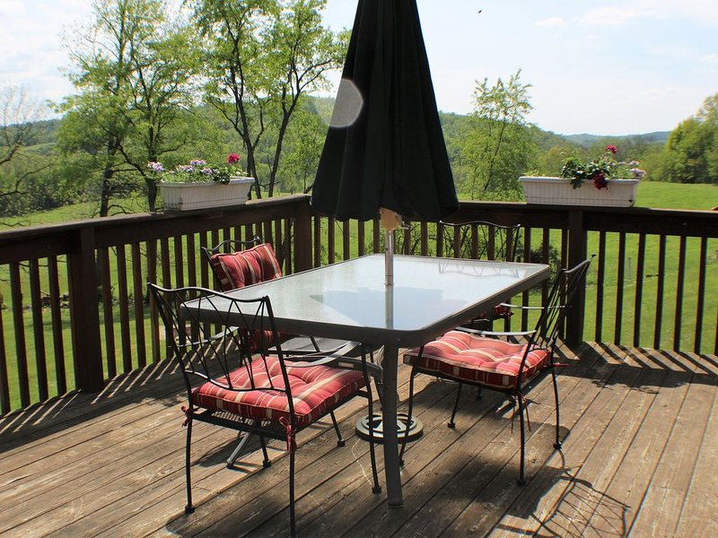 Back Deck, What a view! Overlooking a Sheep Farm.