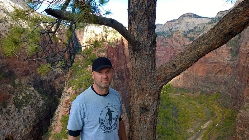 Property owner and host Brant Wojack near the top of Angels Landing, Zion.