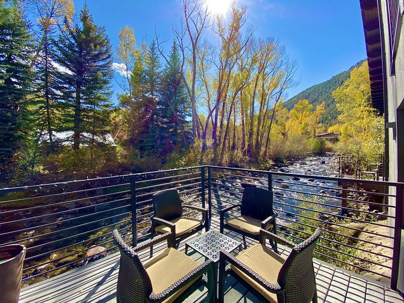 360º Tour! Gorgeous duplex, direct riverfront, deck, fireplace, Up to 45% OFF!, holiday rental in Aspen