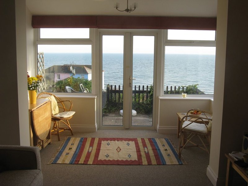 the lounge, looking out to sea