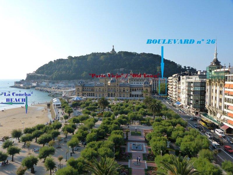 Apartamento en el 26 del Boulevard: el mejor lugar para disfrutar San Sebastián, location de vacances à Saint-Sébastien