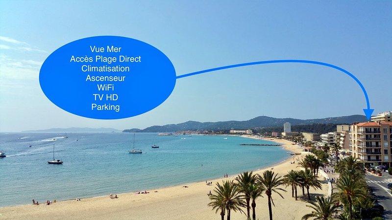 Appartement T3, au cœur du Lavandou avec vue mer et accès direct à la plage !, alquiler vacacional en Le Lavandou
