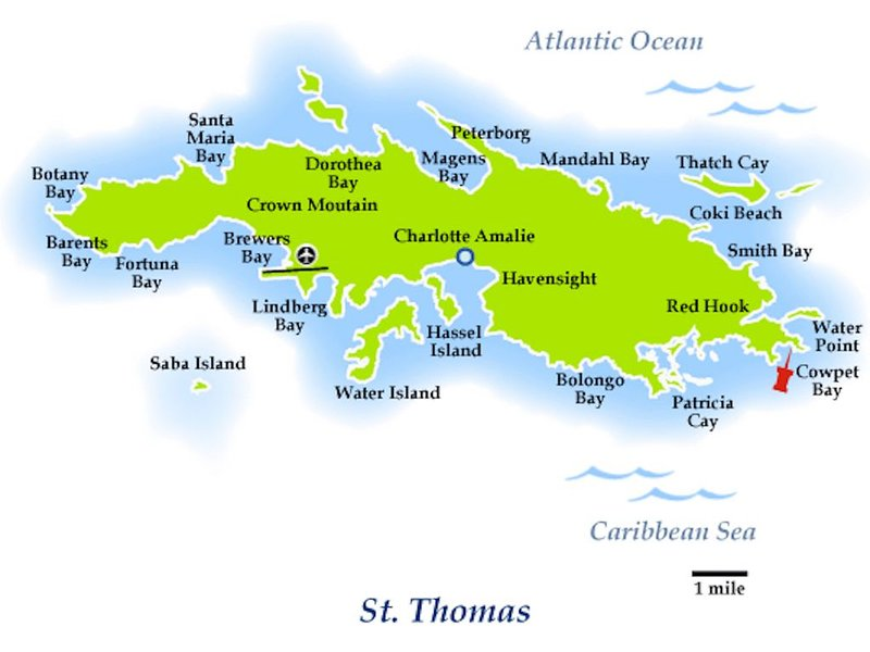 Map Of St Thomas, Red Pin is Cowpet Bay