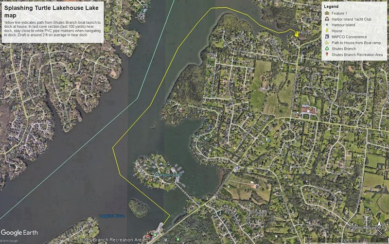 Map from boat launch to dock at Lakehouse (Yellow line indicates path)