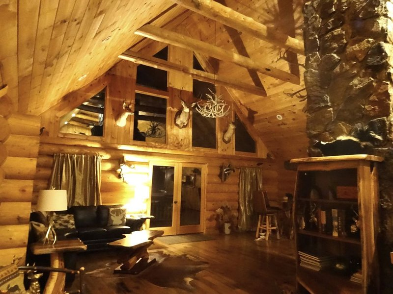 Full Log Cabin,11 wooded acres near Franklin NC. Sleeps 16 in Beds. Waterfalls., location de vacances à Franklin