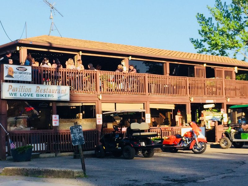 Bikers bar outside and indoors