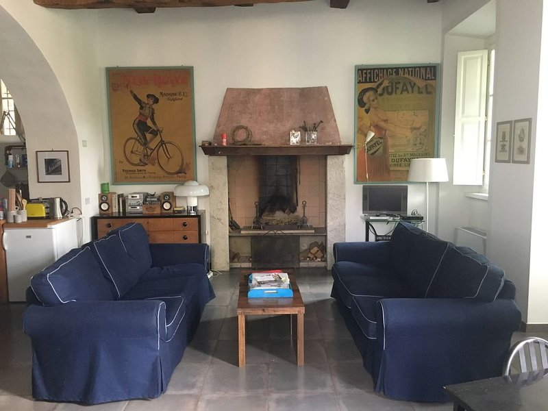 The living room, two sofas in front of the fireplace