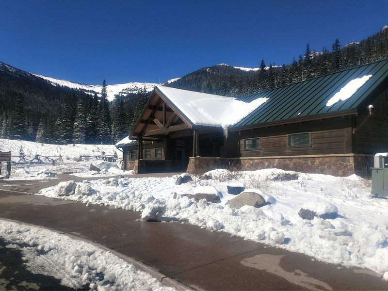 A view of the warming hut at Hidden Valley, a great sledding area inside RMNP