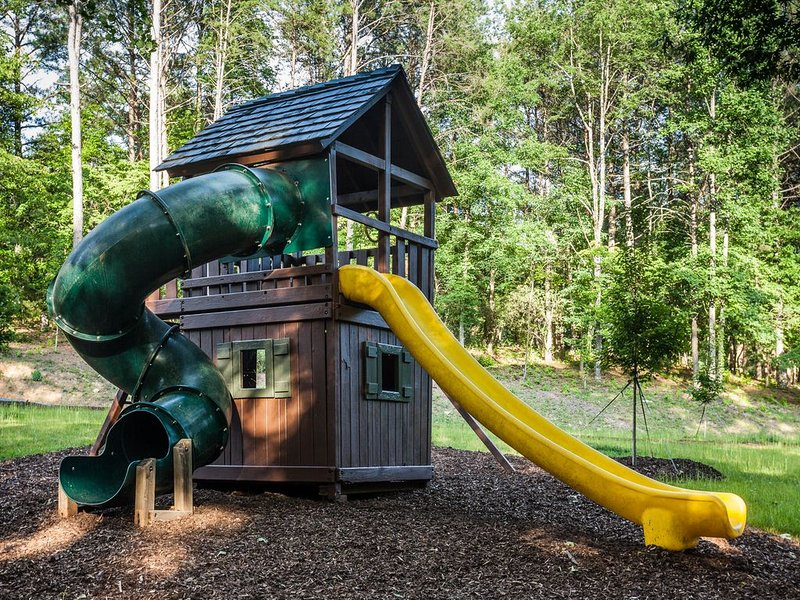 Amazing playground within viewing from the cabin porch or firepit area