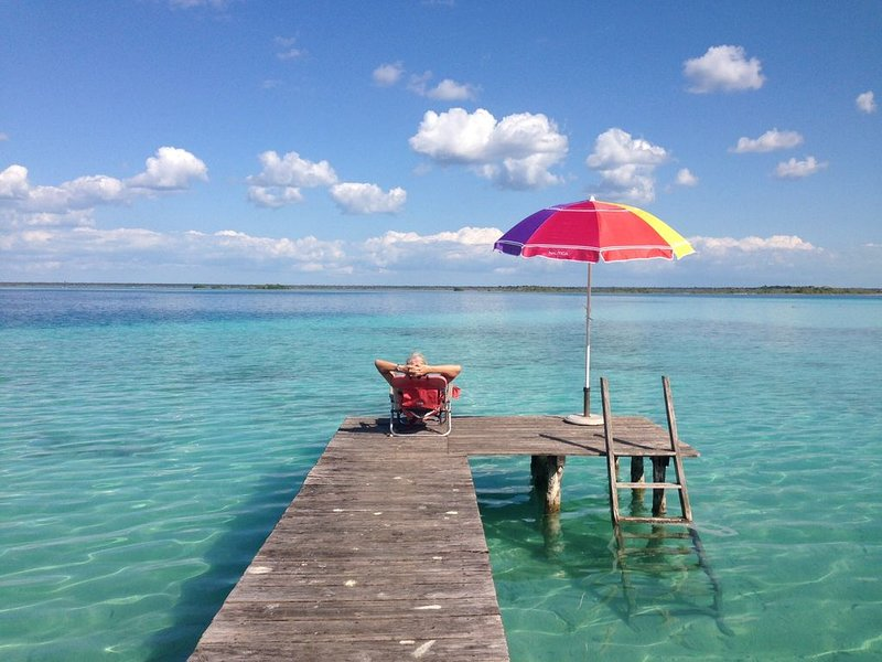 Quinta Mai, True Lakefront, Paradise Found!  Great swimming, fabulous colors,, holiday rental in Bacalar