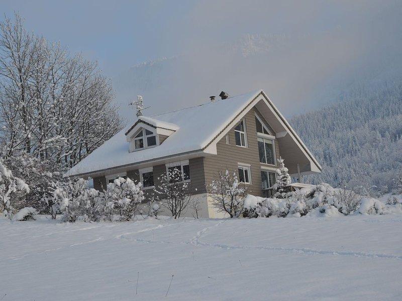 Grand chalet contemporain, magnifique vue sur le lac et montagnes proche piste, location de vacances à Thollon-les-Mémises