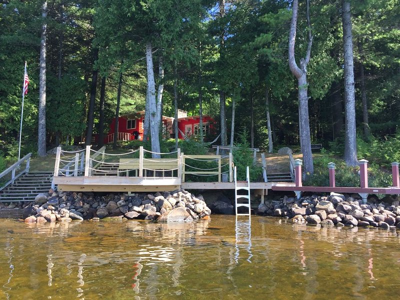 Direct waterfront overlooking forever wild forest on a hidden dead end street, holiday rental in Lyon Mountain