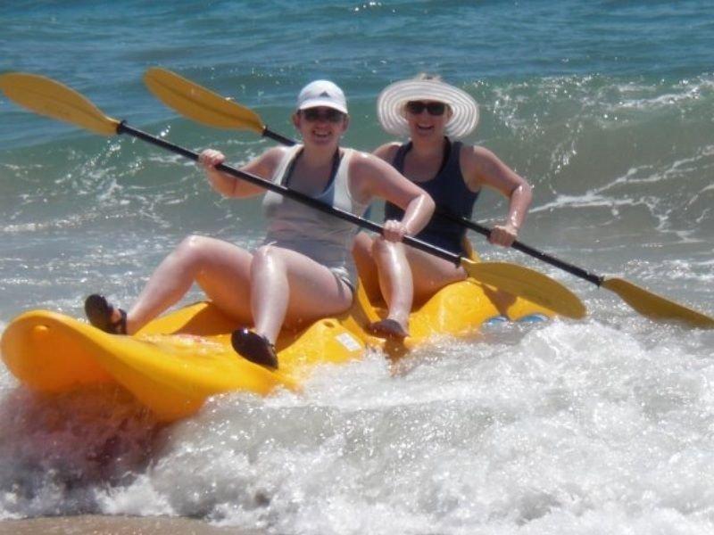 Guests enjoying the sit-on kayaks