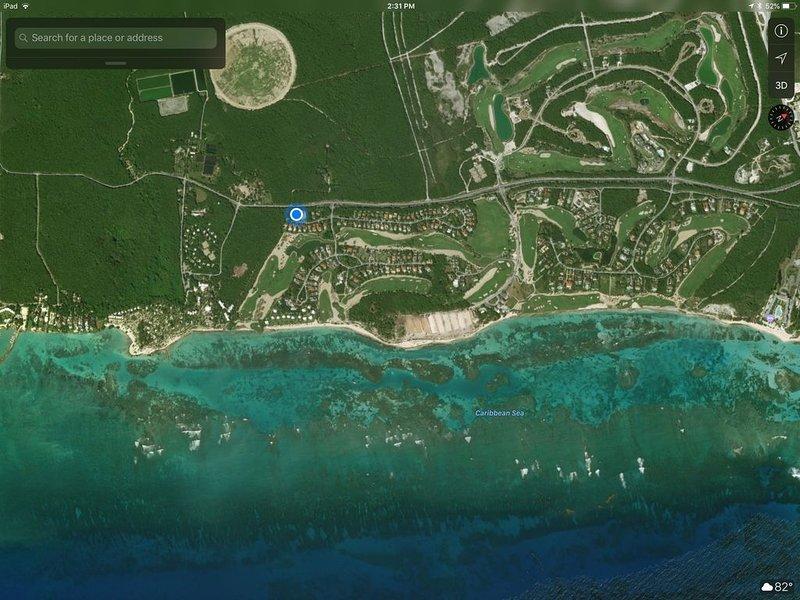 Blue dot is our villa