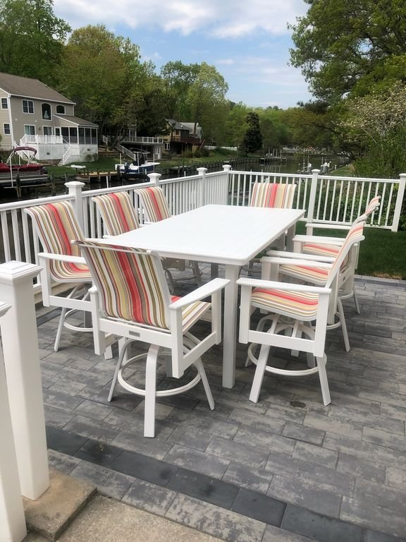 Brand new high top table for 8! GREAT waterfront view!