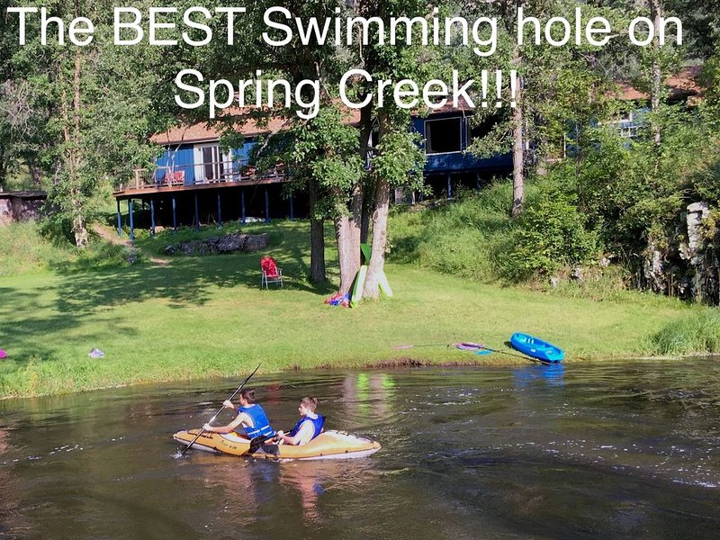 Fun Cabin Overlooking the Best Swimming Hole on Spring Creek -  Stratobowl, holiday rental in Rockerville