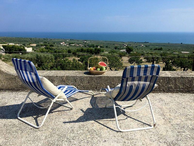 Villa con giardino vista mare e ulivi, holiday rental in Ippocampo