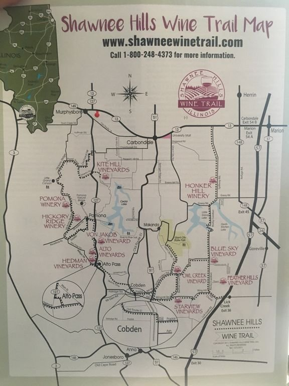Just 7 miles from the wine trail, The Cabin is the red dot in NW corner of map!