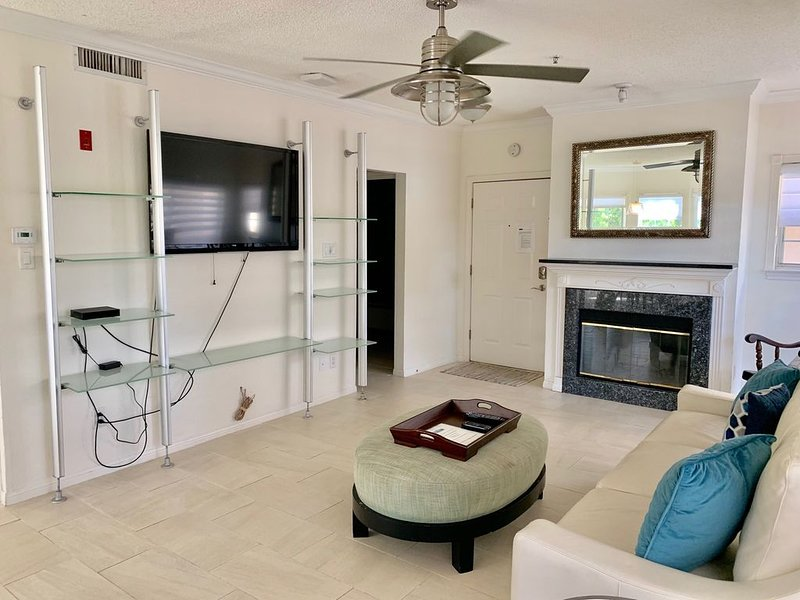 HDTV & Fireplace in Family Room